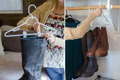 Use pants hangers with clips to keep boots organized.