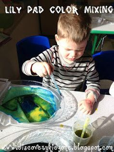 Using color mixing to make lily pads with coffee filters.  What projects have you done with color mixing?