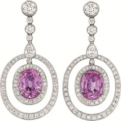 PHILLIPS : NY060211, , A Pair of Pink Sapphire and Diamond Ear Pendants