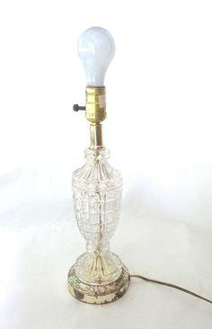 retro block cut glass lamp