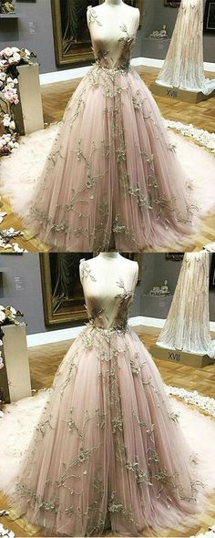 Blush pink tulle long gold lace appliques evening dress, long winter formal prom dresses