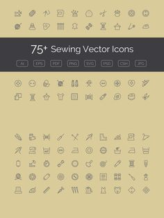 75+ Sewing Vector Icons. Clothes Icons. $11.00