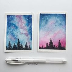 Same colors different composition Which is your favorite left or right If the one on the left looks familiar that s cause it s the one I teach in my skillshare class the link to that is in my bio if you wanna check it out Watercolor Galaxy, Galaxy Painting, Galaxy Art, Painting & Drawing, Watercolor Paintings, Body Painting, Aesthetic Painting, Guache, Mini Paintings