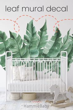Our leaf mural wall decals are perfect for a jungle theme nursery, animal nursery or safari nursery. Our wall stickers and kids room decor is great for a gender neutral nursery, girls bedroom, toddler room or kids playroom. Jungle Baby Room, Jungle Theme Nursery, Animal Nursery, Nursery Themes, Nursery Decor, Nursery Ideas, Nursery Modern, Boho Nursery, Nursery Neutral