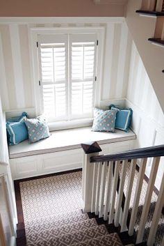 Landing window seat clever use of space. Storage and functionality in an area that wouldn't usually be used
