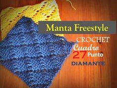 Manta a CROCHET FreeStyle cuadro 27: punto DIAMANTE (diestro) - YouTube
