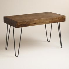Wood and Black Metal Flynn Hairpin Desk - v1
