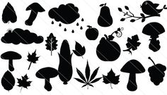 Autumn Set Leaves, Mushrooms & Birds Silhouette Vectors comes in handy to decorate your Thanksgiving vector graphics.
