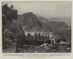 The Indian Frontier Troubles. Illustration for The Graphic, 11 September 1897. 45th Rattray  Sikhs holding Cutting Buddhist Road The 1st attack on Malakand Camp: The 45th Sikhs holding the cutting on the Buddhist Road The Illustrated London News