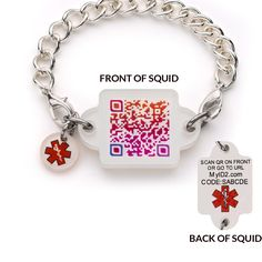 Squid Squares - Colorful, interchangeable bracelet and necklace attachments that connect to your online medical information when either the QR barcode is scanned with a mobile device or the URL printed on the back is accessed. Emergency contacts are also optionally alerted by text and email. Subscription to online medical profile is included  FREE for life with purchase of Squid. There are NO monthy or yearly fees for the online medical profile.
