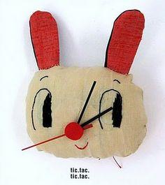 Bunny Clock in Fabric for Artsy Fun & Games with Time, by Eva Monleon, aka Misako Mimoko, Via The Art Room Plant Softies, E Design, Decoration, Art Inspo, Cool Art, Illustration Art, Design Inspiration, Kawaii, Mood