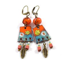Orange and Turquoise Boho Chic Chandelier Earrings, Tribal Earrings, Artisan Earrings, Industrial Earrings, Orange Earrings, Enameled, AE220