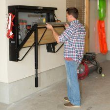 Thinking of building your own workbench but aren't quite definite where to start? Then, you're in right place. In this post, we've compiled 11 DIY workbench ideas that you can use in your be in area, in your garage, or in your home office. Easy Garage Storage, Garage Storage Solutions, Storage Hooks, Overhead Garage Storage, Garage Wall Shelving, Garage Ideas Storage, Diy Garage Work Bench, Garage Storage Inspiration, Garage Ceiling Storage
