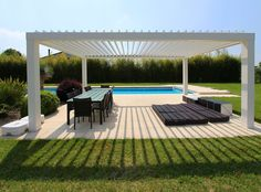 Crystalia Glass - Glass Retractable Skylight, Roofing for Pools, Restaurants, and Patios Everyone has a window seat with a retractable skylight roof Outdoor Decor, Pool Designs, Garden Design, Roofing Systems, Glass Roof, Outdoor Spaces, Terrazzo, Pergola Designs, Small Pool Design