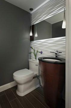 panneau mural salle de bain blanc et gris