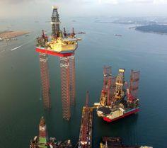 Maersk Intrepid. Worlds largest jackup rig. Legs @ 208m