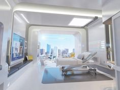 The hospital room of the future embeds sensors and displays into the furniture and walls reducing the need for manual record keeping, minimizing errors, and optimizing quality of care. Description from wired.com. I searched for this on bing.com/images