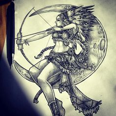 Moon tattoo, the archer is magnificent