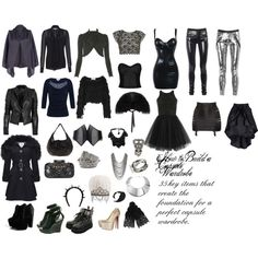 """Capsule Wardrobe: Slinky Goth"" by misshoneybare on Polyvore"