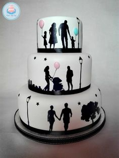 Wedding Cake - cake by Bake My Day Wedding Cake Cookies, Themed Wedding Cakes, Wedding Cupcakes, Birthday Cake For Him, Birthday Cakes For Women, Engagement Cake Design, Fondant Cake Designs, Silhouette Cake, Dad Cake