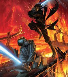 """ - Anakin VS Obi-Wan - Star Wars Episode III: Revenge of the Sith Star Wars Fan Art, Star Wars Film, Star Wars Jedi, Star Wars Saga, Star Wars Poster, Anakin Vs Obi Wan, Anakin Vader, Anakin Skywalker, Darth Vader"