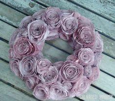 Purple Pink Coffee Filter Rolled Flower Wreath