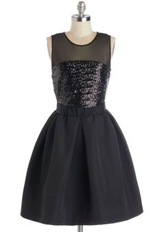 Premier and Dear Dress - Mid-length, Sheer, Woven, Black, Solid, Sequins, Special Occasion, Cocktail, LBD, Fit & Flare, Sleeveless, Better, ...