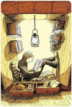 Cartoon girl reading in closet