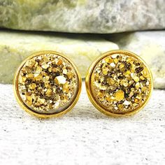 Bridesmaid Earrings  Gold Druzy Stud Bridesmaid Earrings  | Etsy