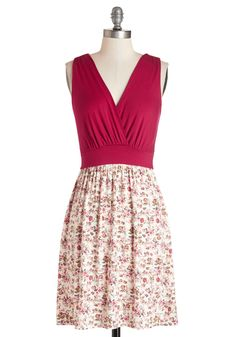 Raspberry Crush Dress. Youre charming in this sleeveless flowing frock with a raspberry-maroon bodice and creamy floral skirt. #red #modcloth