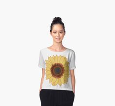 Chiffon top - Sunflower designed by Neal DePintohttp://www.redbubble.com/people/nealdepinto/works/22033214-sunflower?p=chiffon-top&style=chiffon-top&body_color=white #summer #fashion #Tees