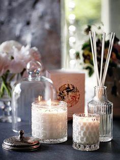 Candles, glassware, copper and pink. marksandspencer
