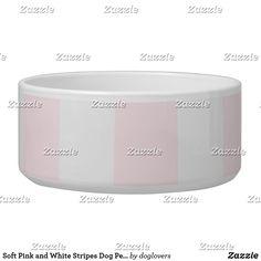 Soft Pink and White Stripes Dog Pet Bowl Pink And White Stripes, Pet Bowls, Candy Jars, Diy Face Mask, Dog Design, White Ceramics, Keep It Cleaner, Your Pet, Dog Cat