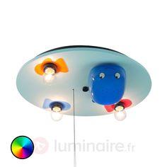 Plafonnier LED Baleine à 3 lampes, référence 5400224 - Lampes mignonnes et rigolotes pour chambre d'enfant et bébé chez Luminaire.fr !
