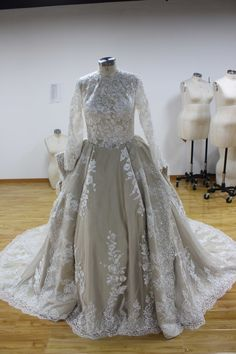 Buy discount Luxury Tulle Illusion High Collar Ball Gown Wedding Dress With Beaded Lace Appliques at magbridal.com.cn Gown Wedding, Wedding Dress Styles, Dress Bra, High Collar, Beaded Lace, Lace Applique, Appliques, Illusion, Ball Gowns