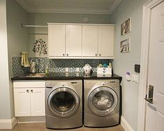 Small Laundry Design Ideas, Pictures, Remodel, and Decor - page 2 Laundry Room Tables, Ikea Laundry Room, Laundry Room Remodel, Laundry Room Cabinets, Laundry Room Storage, Small Laundry Space, Small Utility Room, Small Space, Vestibule