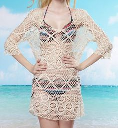 Stylish Scoop Neck Openwork 3/4 Sleeve Cover-Up For Women