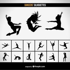 Modern dancers silhouettes Free Vector