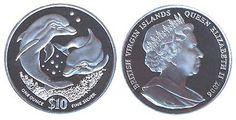 Виргинские острова, серебряная монета, 10 долларов. На реверсе монеты изображены два дельфина, плывущих под водой. Год выпуска 2006.