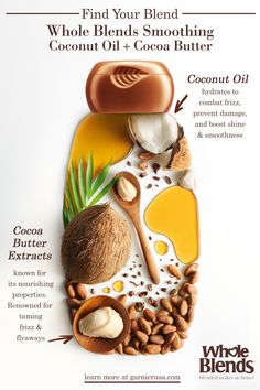 Whole Blends Smoothing with Coconut Oil & Cocoa Butter Extracts Ads Creative, Creative Posters, Creative Advertising, Advertising Design, Food Packaging, Packaging Design, Branding Design, Whole Blends, Cosmetic Design