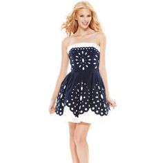 Betsy Johnson dress net Brand new with tags smoke and pet free home. Cute Summer Dresses, Pretty Dresses, Summer Clothes, Navy And White Dress, Navy Blue, Betsey Johnson Dresses, Eyelet Dress, Madame, Special Occasion Dresses