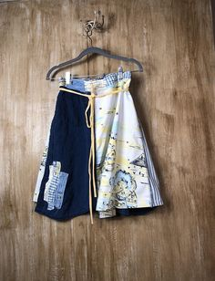 A must have women's up cycled wrap skirt, repurposed fun and funky wrap, refashioned, casual and comfortable, patchwork, shabby chic, rustic