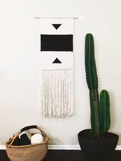 Elegant, Large Handwoven Organic Cotton Wall Hanging by Melinda Wood Designs Custom Order == Organic Light Cream & Dark Charcoal Cotton 15