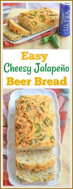 This easy cheesy jalapeno cheese beer bread recipe makes the best homemade bread that can be made in the kitchen. This bread boasts a cheesy crunchy outer crust, moist on the inside and spicy all around. Beer Cheese Bread Recipe, Jalapeno Cheese Bread, Cheddar Cheese, Bread Machine Recipes, Easy Bread Recipes, Baking Recipes, Recipes With Bread Slices, Beer Recipes, Quick Bread