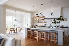 Gorgeous wood tones in this colonial farmhouse kitchen house tour on coco k Kitchen Interior, New Kitchen, Kitchen Dining, Kitchen Decor, Kitchen Layout, Dining Room, Kitchen Nook, Küchen Design, House Design