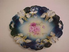 Fantastic RS Prussia Plate Cobalts with Lilys and Pink Flowers Scalloped Edge