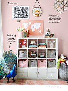 Upscale IKEA cabinet w custom drawer pulls and canvas baskets. Could also paint cabinet... Could also use as craft room storage. From HGTV Magazine
