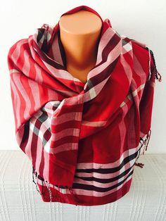 Plaid shawl claret shawl bohemian scarf women by GCbazaar on Etsy