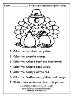 Turkey Worksheets For Elementary Speech Activities, Art Therapy Activities, Preschool Activities, Listening Activities, Listening Skills, Preschool Learning, Holiday Activities, Therapy Worksheets, Science Worksheets