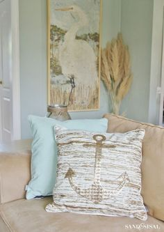 45 Beautiful Coastal Decorating Ideas For Your Inspiration coastal-gold-pillow-set Beach Cottage Style, Beach Cottage Decor, Coastal Cottage, Coastal Homes, Coastal Decor, Coastal Farmhouse, Coastal Interior, Coastal Furniture, Coastal Style